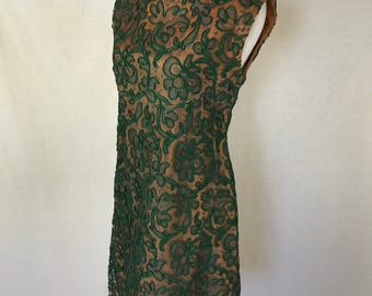 Vintage Handmade Green Lace Dress // 1960's // Mad Men