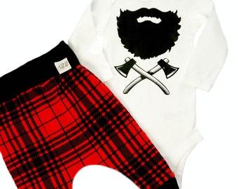 WINTER LUMBERJACK OUTFIT -boys lumberjack birthday outfit- kids red plaid joggers- lumberjack beard- lumberjack crossed axes - boys birthday
