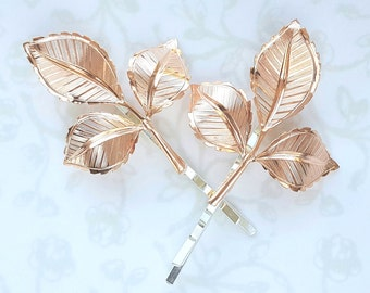 Rose Gold Leaf Bobby Pins Set of Two, Hair Pin, Bridesmaid Gift, PinkGold Garden Wedding Hair Clip, Vintage Bridal, Copper
