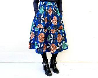 XS Last Size- Blue Geometric Skirt, African Skirt, Tiered Skirt, Womens Clothing, African Clothing, Midi Skirt, Blue Skirt, Bold Skirt, Blue