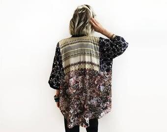 Unique Boho Kimono, Wearable Art Cover Up, Unique Kimono, Floral Kimono, Loose Kimono Jacket, Summer Fashion, Unique Bohemian Clothing