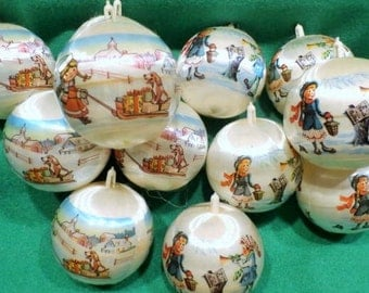 Vintage Ornaments with Winter Scene, Group of 12
