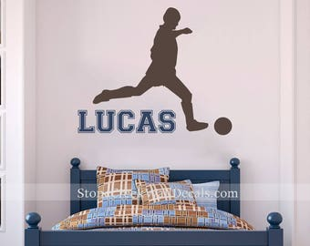 Soccer Decal Soccer Wall Decal Sports Vinyl Wall Decal Boys Room Decor Personalized Name Teen Boy Room Decor Wall Soccer Boy decals N043