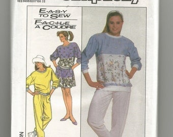 8789 Simplicity Sewing Pattern Sweatshirt Pants Skirt Size Petite Small Medium Large Vintage 1980s