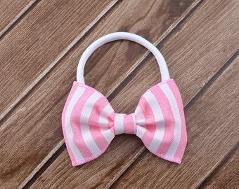 Pink and White Bow Headband, Pink Bow Headband, Pink Easter Headband, Pink Nylon Headband, One Size Fits All, Nylon Bow Headband, Easter Bow