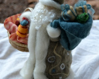 German Father Christmas waldorf Inspired Needle Felted with stand Made to Order