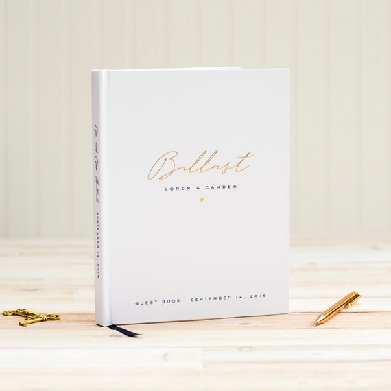 Wedding Guest Book Gold Foil wedding guestbook wedding sign in book custom guest book wedding album navy and gold instant wedding photo book