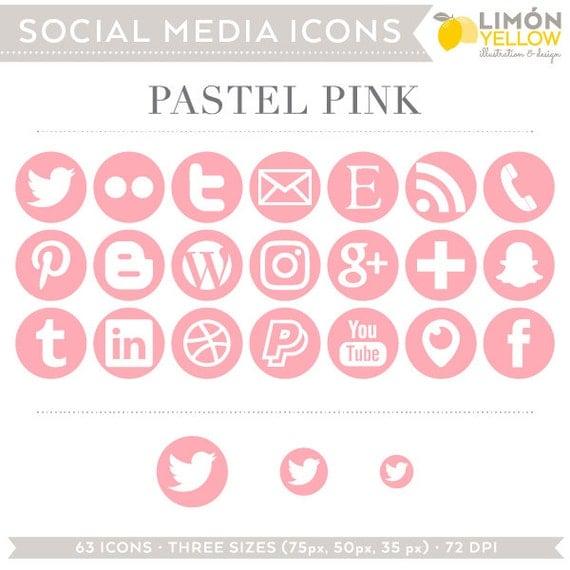 Social Media Icons Pastel Pink Instant Download Facebook