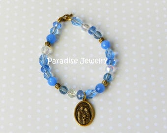 Holy Spirit, Holy Family, Medal Charm, Blue Beads, Catholic Bracelet, Crystal Glass Bead, Mother's Day, Confirmation, Sacrament Gift