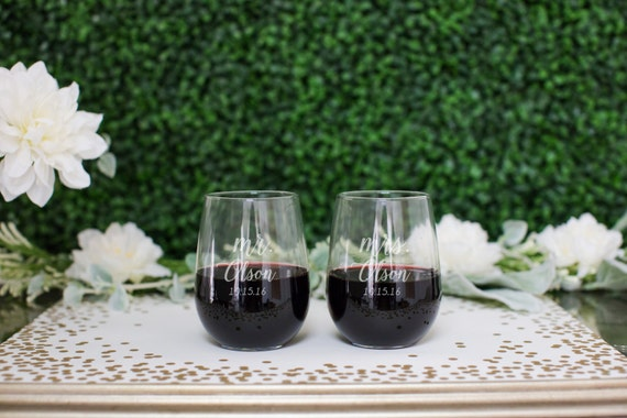 Custom Stemless Wine Glasses - (Set of TWO) His and Hers Wine Glasses