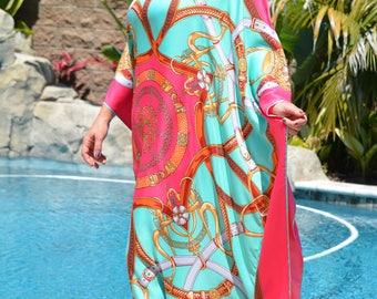 Full Length Silk Caftan, Silk Beach Coverup, Plus Size Womens Kaftans, Silk Dress, Silk Beach Dress, Resort Wear, Long Silk Dress