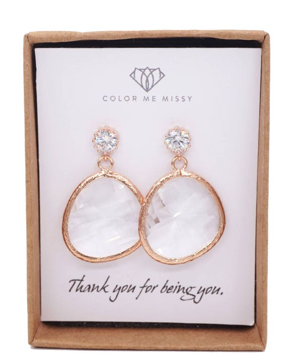 Rose Gold Cubic Zirconia Earring with Huge Glass drop- gifts for her, Necklace, bridal gifts, drop, dangle, pink gold weddings