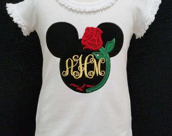 Belle's sparkle rose Mouse Head with monogram custom applique top/Disney trip ~ tons of designs/custom design made for you!!
