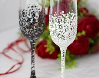 Wedding Champagne Flutes Personalized Glasses For Bride And Groom Black