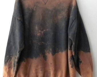 Acid wash Sweatshirt, Gray sweatshirt, Crewneck Sweatshirt, acid wash, Grunge, Extra large, Graphic, tie dye sweatshirt, dip dye, Boho,retro