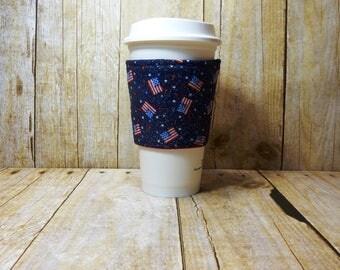 Fabric Coffee Cozy / Sparkle Flags Coffee Cozy / Flag Coffee Cozy / 4th of July Coffee Cozy / Coffee Cozy / Tea Cozy