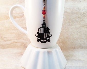 Gryffindor House Colors-Hogwarts Inspired Black Crest Tea Infuser Charm-Crimson and Gold-Czech Glass Bead-Harry Potter-Personal Tea Party