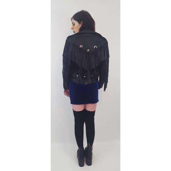 80's Fringe Unisex Genuine Leather Jacket Size Medium - Black Leather Concho Fringe Detail Coat - Vintage 80s Edgy Biker Fringe Sleeve
