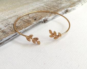Leaf Cuff Bracelet, Gold Leaf Bangle, Silver Leaf Cuff Bracelet, Wedding Jewelry, Gift for her under 20, Valentine Gift