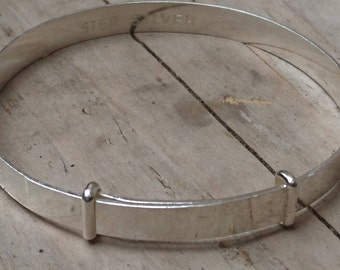 Vintage sterling silver slide bangle