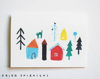 Little Houses blank card | A6 | winter town | trees with birds | cat