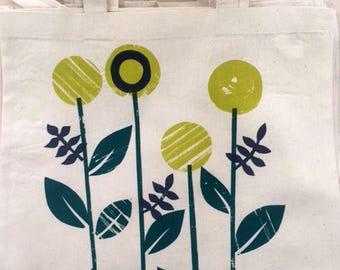 Bloom Design Screen Printed Tote Bag