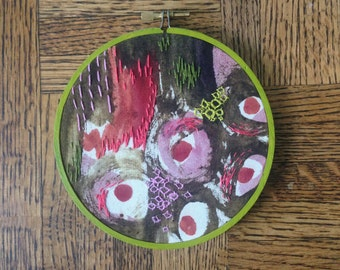Unique Abstract Painting Modern Embroidery Hoop Art, Handmade Home Decor Wall Art
