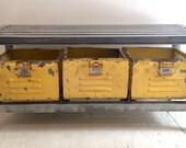 Polished Steel Entry Bench with Vintage Gym Locker Baskets