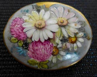Vintage Painted Ceramic Brooch, Flower Brooch, Midcentury Brooch