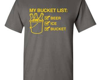 My Bucket List: Beer, Ice, Bucket Funny Mens T-shirt Charcoal