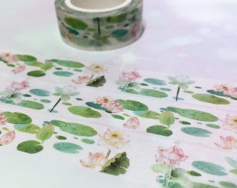 water lily lotus washi tape 10M flower painting elegant flower water pool pink lily Narcissus pink rose botanical floral deco masking tape