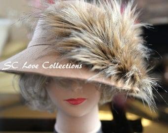Chic Fashion Wear Fox Beige Tan Faux Fur Designer Luxurious Elegant Hat Cap Felt Short Floppy Hat Woman Hat One Size