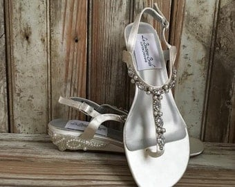 Thong Bridal Wedding Wedge Sandal Destination Sandal Wedge Reception Flip Flop Sandal