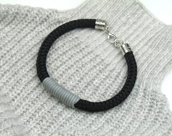 Chunky Rope Necklace in Black Boating Cord Wrapped in Grey Mokuba Cord