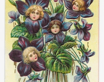 Violets Flower Fairies Easter Postcard, 1910