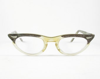 Glitter Cat Eye Glasses Frames Vintage Eyewear Mid Century Winged Clear Bottom