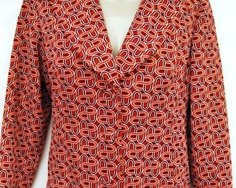 Vtg 70s Mod Op Art Womens Blazer Polyester Jacket Psychedelic Vintage 1970s Clothing Hippie Clothes Top