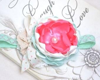 Hot pink ivory mint green headband- Easter headbands- Baby headbands