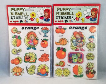 Two Packs Puffy STICKERS Scratch and Smell ORANGE Scent Theme