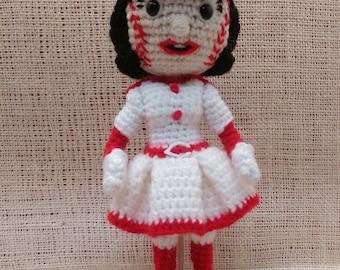 Crochet Rosie Red - Cincinnati Reds Doll - Baseball Mascot - Made to Order