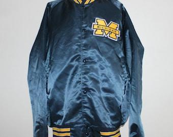 Vintage Michigan Wolverines Satin Chalk Line NCAA Jacket XL