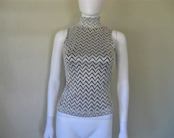 silver black chevron Textured mock neck sleeveless top