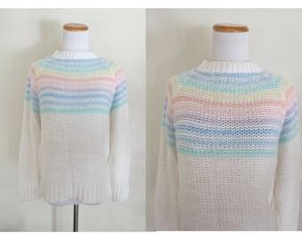 Rainbow Stripe Sweater Pastel Ski Pullover Jumper 70s 1970s 80s 1980s Kawaii Knit Size Large Medium