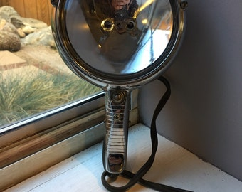 Vintage 1950's GE Handheld Chrome Car Spotlight, powered by 12 volt Cigarette Lighter