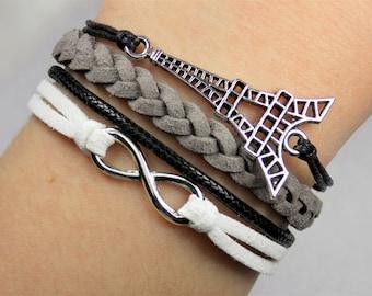 Paris Eiffel Tower Infinity: Black/Gray/White -- Adjustable Braided Suede Layered Bracelet