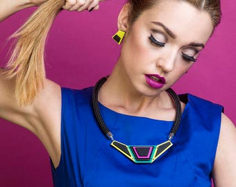 Colorblock Necklace Colorful Wooden Necklace Geometric Statement Necklace