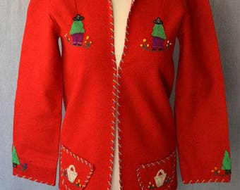 Mexican souvenir jacket/ 1940s fashion /souvenir from Mexico /tourist jacket /embroidered jacket /red wool jacket