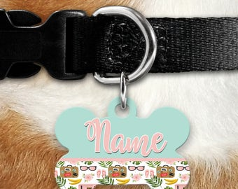 Tropical Travel Suitcase Identification Tag - Summer - Beach - Summertime - Pet ID - Custom Pet Tag - Personalized Pet ID - Bananas - Palms