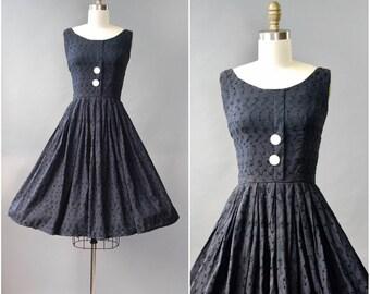 1950's black eyelet cotton sun dress • xs