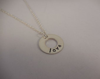 Love Hand Stamped Silver-Filled Washer Necklace